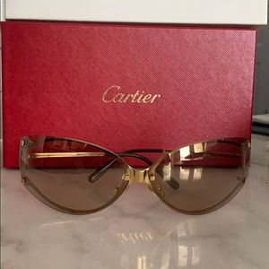 Vintage Cartier Cat Eye Rimless Sunglasses